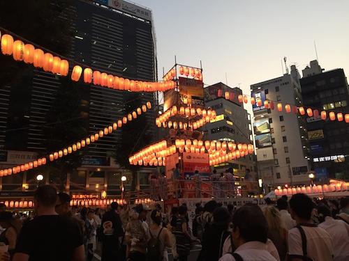 浴衣で出社day 恵比寿駅前盆踊り大会